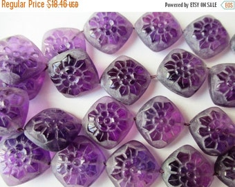 New Year SALE Amethyst carved stone- 16mm- 1 stone