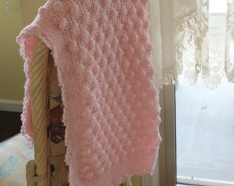 Holiday Sales 10% Off Pink Knit Baby Girl Blanket with crochet edge Shower Gift, Travel, Stroller Blanket, Car seat cover, Crib Nursery, car