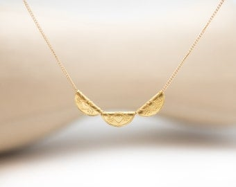 Gold Necklace Solid Gold Jewelry Mandala Half Moon High End 14k 18k 22k Gold Fine Jewelry Simple Delicate Gift for Woman Special Occasion