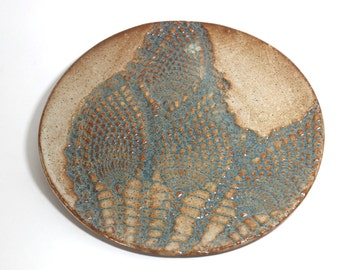 Bridges Pottery Decorative Cheese Plate  Specialty- Serving-Plate-Nutmeg and Slate Blue  IN STOCK