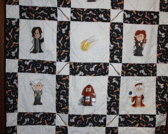 Wizzard Broom  Harry Potter Machine Embroidered Lap Quilt