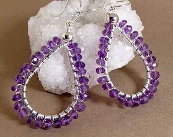 Amethyst earrings; Amethyst & sterling silver wire wrapped earrings; birthstone earrings