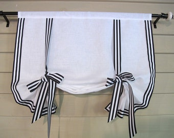 """White Linen with Black White Stripe Gross Grain Ribbon Trim 60"""" Long Stage Coach Blind Swedish Roll Up Shade Tie Up Curtain"""