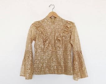 Vintage 1970s Tan Lace Mock Neck Long Bell Sleeve Victorian Blouse - XS/S