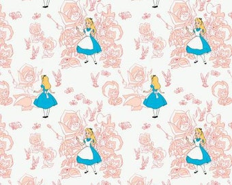 Alice in Wonderland by Camelot Fabrics  Golden Afternoon toile in Blush choose your length YES! Shipping is combined and continuous cuts
