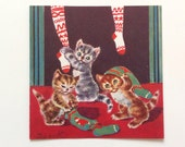 Vintage Unused Christmas Card Naughty Kittens Playing In Stockings by Brownie