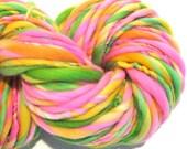 HALF OFF SALE Bulky Handspun Yarn Zinnias 66 yards hand dyed wool pink yarn green yellow orange yarn knitting supplies crochet supplies