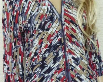 Vintage Jacket, Thin Jacket, Multiples, Size XSmall, Zipper Front Jacket, Collared Jacket, Cotton Nylon, Red White Gray, Vintage Clothing