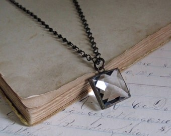 Clear Faceted Glass Pendant, Prism Necklace Stained Glass Jewelry