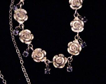 Vintage Estate Sterling Rose and Violet Stone Necklace, Signed M