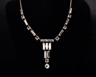 Antique Art Deco Sterling Open Back Paste Crystal Necklace
