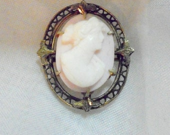 Antique Angel Skin Carved Cameo Pin