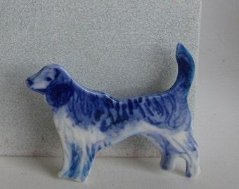 Dog - Handpainted Blue Delft porcelain Brooch