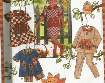 Vintage 80s Simplicity 7019 UNCUT Girls Appliqued and Embroidered Play Clothes- Dress, Pants, Shorts and Tunic Sewing Pattern Size 5-8