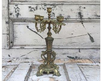 Vintage Candelabra - Brass Candelabra - Gold Candelabra - Large Candelabra - Antique Candelabra - Wedding Candelabra - Art Nouveau