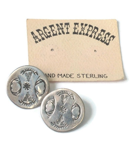 Sterling Southwestern Style Earrings Round Inscribed NA Design Argent Express Posts Original Card