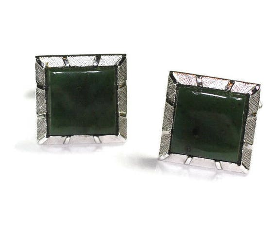 Green Stone Cuff Links Swank Silver Tone Square Vintage