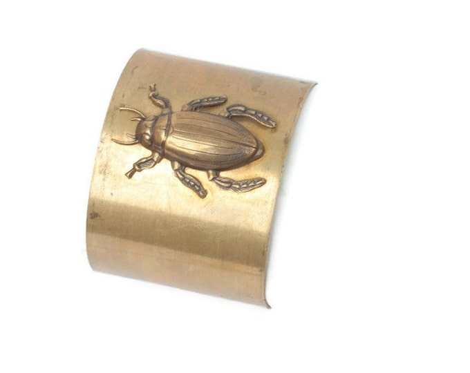 Brass Beetle Cuff Bracelet Vintage Dimensional Insect Jewelry