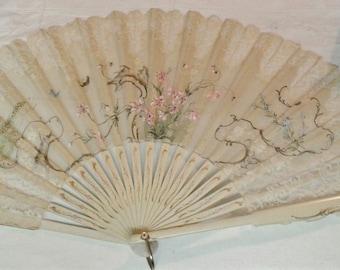 Fan, French Style Cream Colored Lace Fan