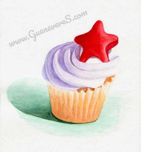 Red Gummy Star Cupcake watercolor original painting