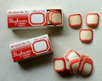 Vintage Red Bordered Gummed Labels
