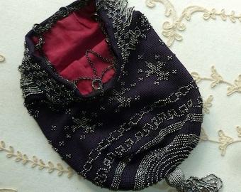 Circa 1920's Cut Steel Beaded and Silk Crochet Purse