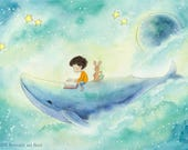 A Story About a Whale - Brown Hair Boy Riding Whale - Art Print