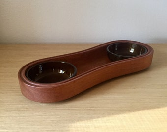 dansk oblong teak serving platter with glass bowls