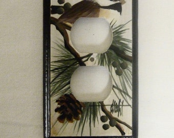 Outlet Wall Plate with Chickadee design  Plug Switch Plate Electrical outlet