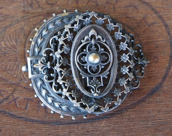 Elaborate and Ornate Antique French Half Buckle