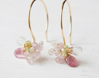 Cherry Blossoms Dangle Earrings, Wedding Floral Jewelry, Pink Gemstone Earrings, Pink Tourmaline