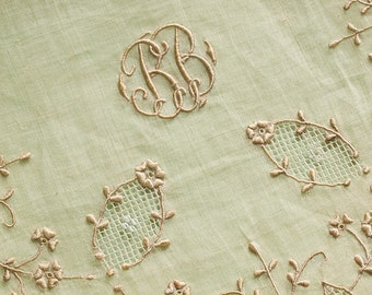 Exquisite Embroidered Antique  Organdy Handkerchief Holder Initial BB