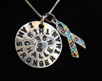 I am Stronger than this Challenge necklace, Autism Awareness necklace, Autism charm necklace, Puzzle awareness necklace, puzzle jewelry