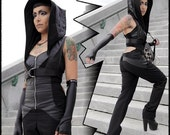 FridayThe13th SALE Salem, hooded mini vest with adjustable harness belt by Plastik Wrap.