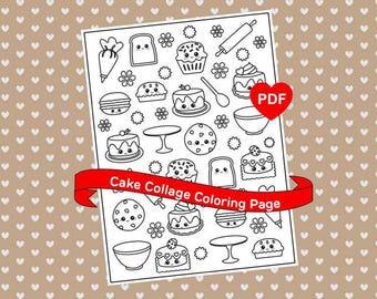 Kawaii Coloring Page Cute Printable Cake Collage Kawaii