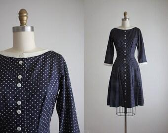 1960s navy dot dress