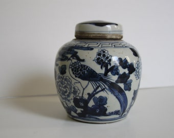 Vintage Petite Blue & White Chinese Bird Ginger Jar / Chinoiserie