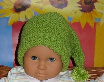 50% OFF SALE Digital Download Knitting Pattern- Baby Moss Stitch Pixie Bobble Slouch Hat knitting pattern pdf download by madmonkeyknits
