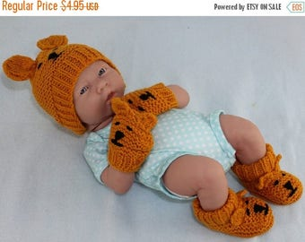 50% OFF SALE New Baby Teddy Bear Booties Beanie and Mittens knitting pattern by madmonkeyknits - Instant Digital File pdf download