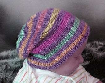50% OFF SALE Instant Digital File pdf download Knitting Pattern - Baby Multi Coloured Stripe Slouch hat knitting pattern