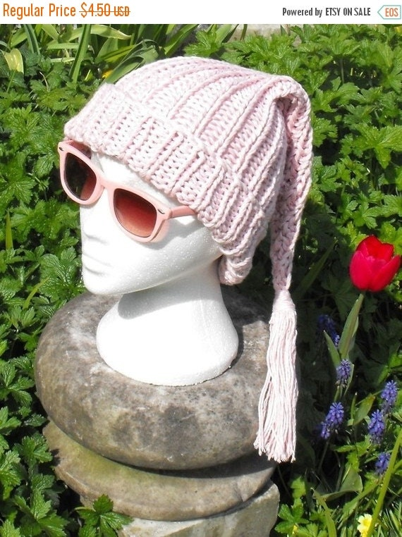 HALF PRICE SALE Instant Digital File pdf download knitting pattern- Superfast Wee Willy Pinky Pixie Slouch nightcap hat knitting pattern pdf