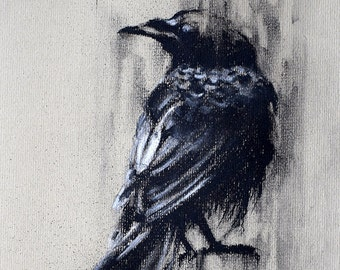 """Crow Study Original Charcoal Drawing of a Raven 12x8"""""""