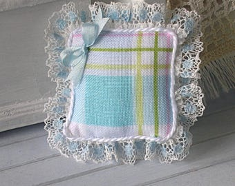 1:12 Pillow - English Garden Plaid, Silk Ribbon and Lace- Scale Miniature Dollhouse - Romantic Shabby Cottage **Free Shipping**
