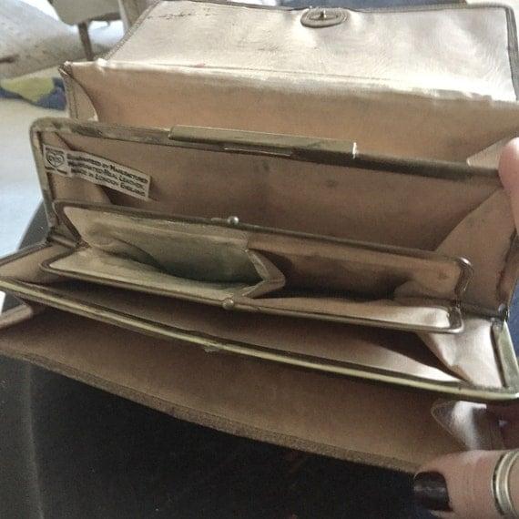 Vintage Leather hand bag, vintage leather wallet. Ladies vintage wallet.