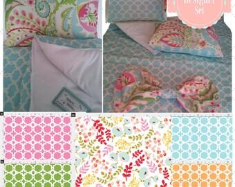 Designer Toddler Comforter Set - Morocco Garden & Scandinavian Floral All Season Comforter   Reversible Pillow Sham  Trendy Bow