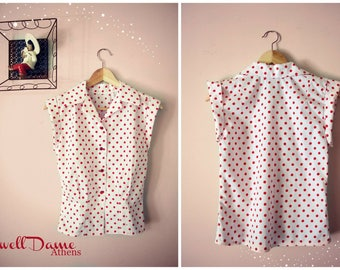 Swell Dame 1950s  repro blouse shirt in polka dot print ,many other fabrics available , All sizes