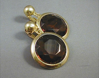 Large Amber Glass Clip Earrings