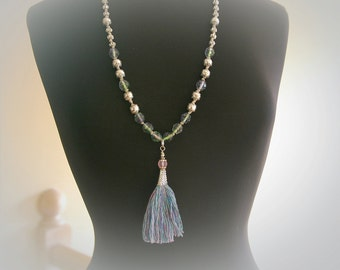 Boho Beaded Silk Tassel Necklace. Blue and Purple Jeweltone.