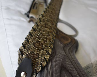 Diamond Back Rattlesnake Rifle Sling Black Brown or Tan with Initials