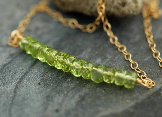 Apple Green Peridot August Birthstone and Solid 14k Yellow Gold Birthstone Necklace- Ready to Ship